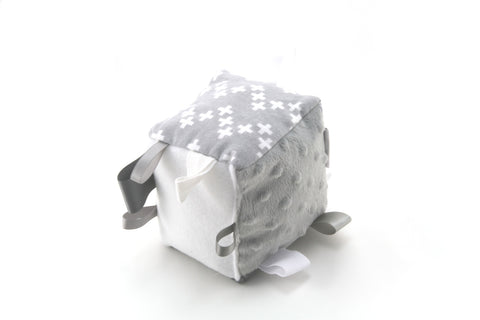 Mucky Duck grey white geometric pattern sensory cube