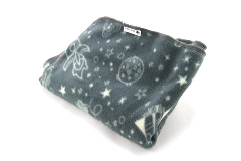 Mucky Duck grey space themed fleece pram blanket