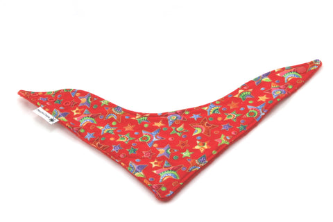 Multi-Coloured Stars Christmas Dribble Bib - Bandana Style