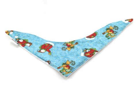 Blue Snowman and Reindeer Christmas Dribble Bib - Bandana Style