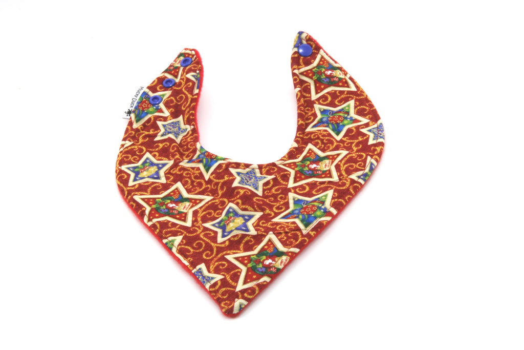 Mucky Duck red with blue stars Christmas bandana dribble bib