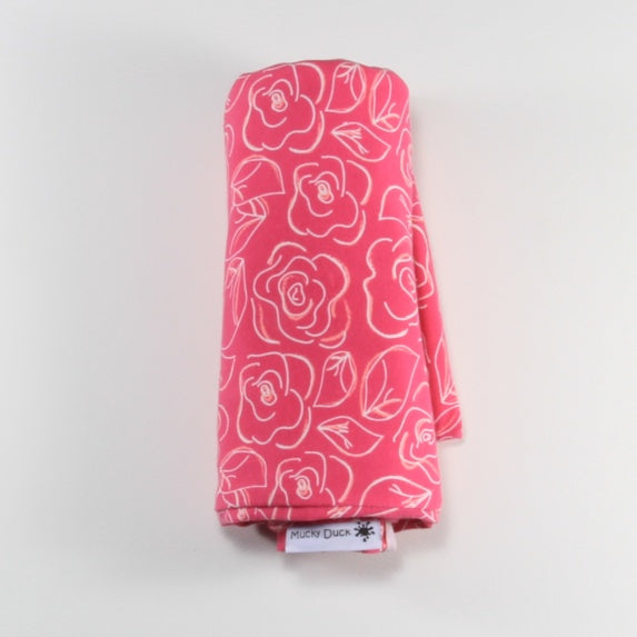 Mucky Duck infinity scarf nursing cover in bright pink with white flowers