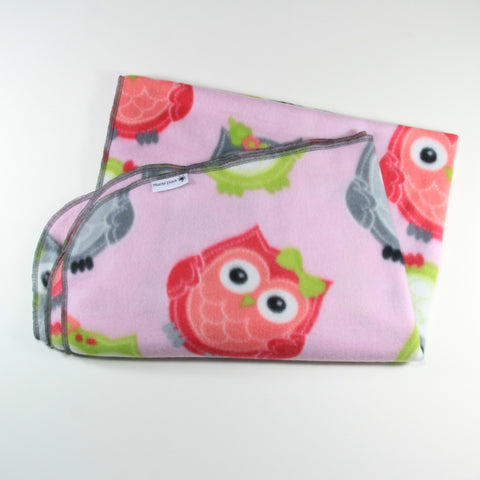 Pink and Green Owl Fleece Pram Blanket