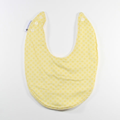 Mucky Duck yellow with yellow dots dribble bib