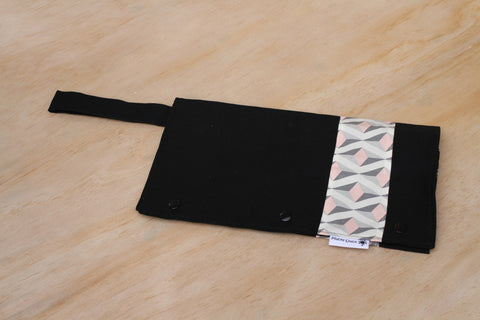 Black with White, Pink and Grey Geometric Pattern Nappy Wallet