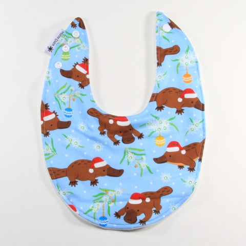 Mucky Duck blue platypus Christmas dribble bib