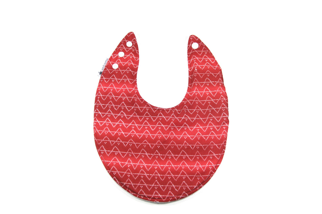 Red and White Patterned Dribble Bib - Regular Style