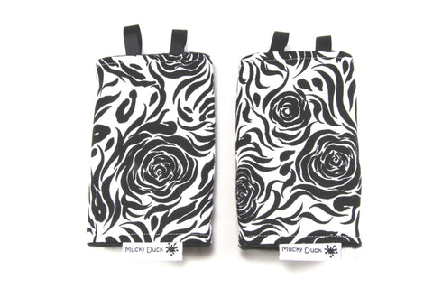 Mucky Duck monochrome floral baby carrier strap protectors