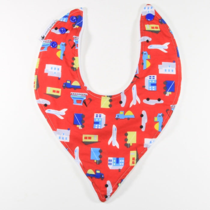 Mucky Duck red planes trains cars dribble bib