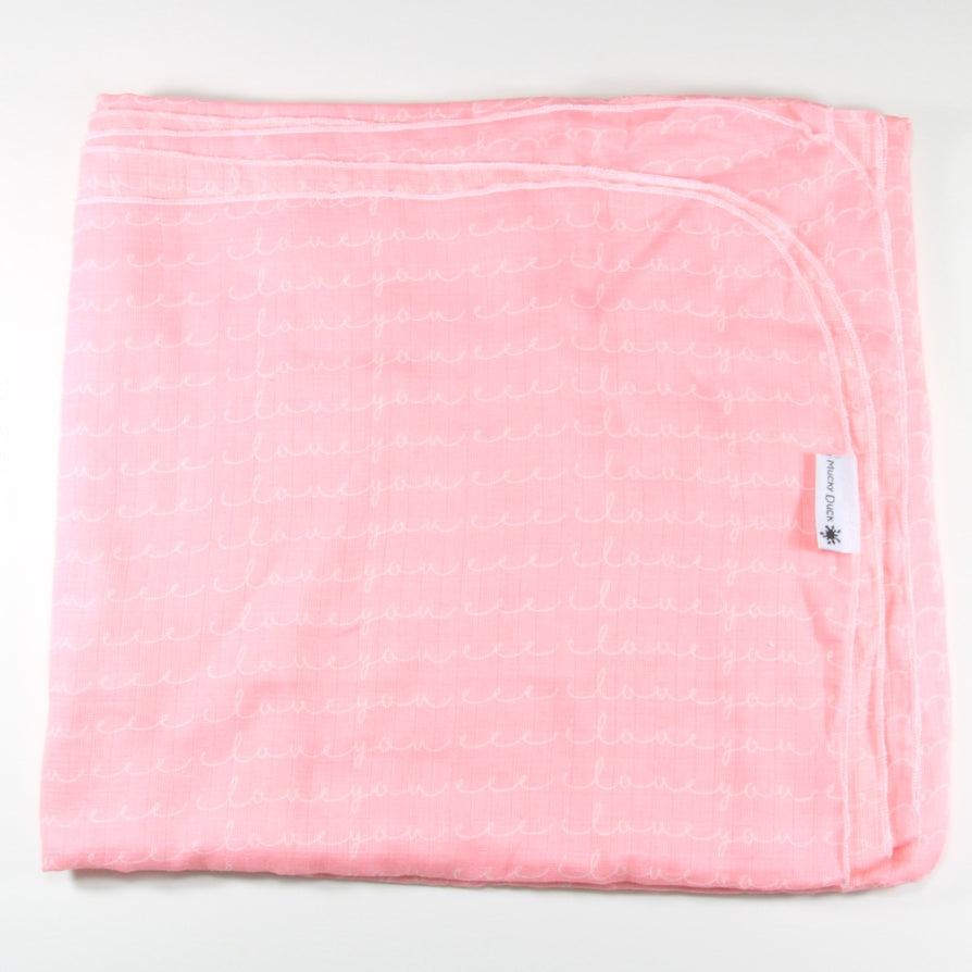 Mucky Duck pink I love you muslin swaddle wrap