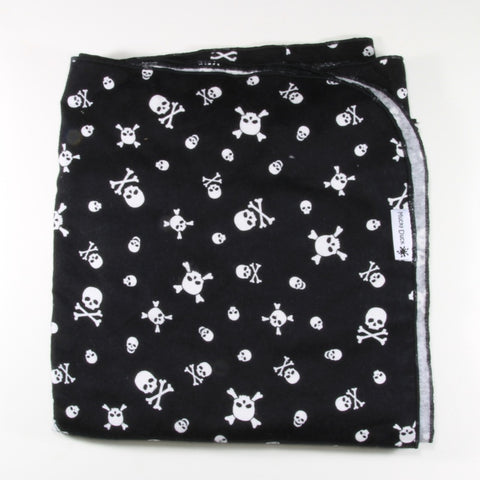 Mucky Duck monochrome black and white skulls flannelette swaddle wrap