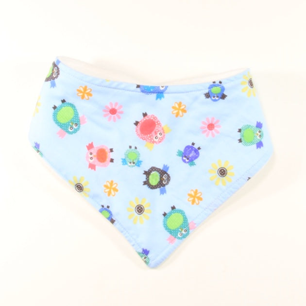 Mucky Duck blue owls bandana dribble bib