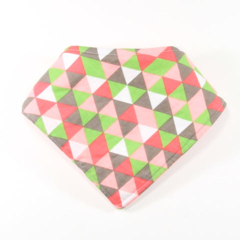 Pink Green and Grey Geometric Dribble Bib - Bandana Style