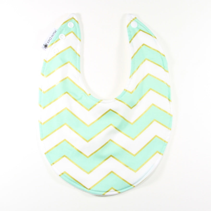 Mucky Duck mint white and gold chevrons dribble bib