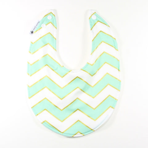 Mint White and Gold Chevrons Dribble Bib - regular style