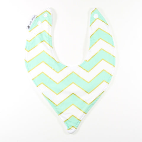Mint White and Gold Chevrons Dribble Bib - hybrid style
