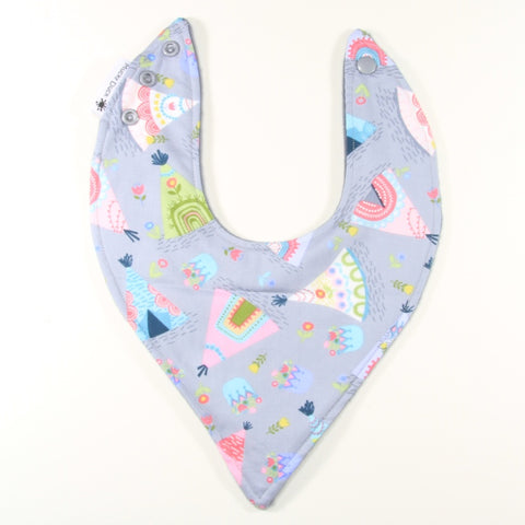 Mucky Duck grey and pastel tee pee bandana dribble bib