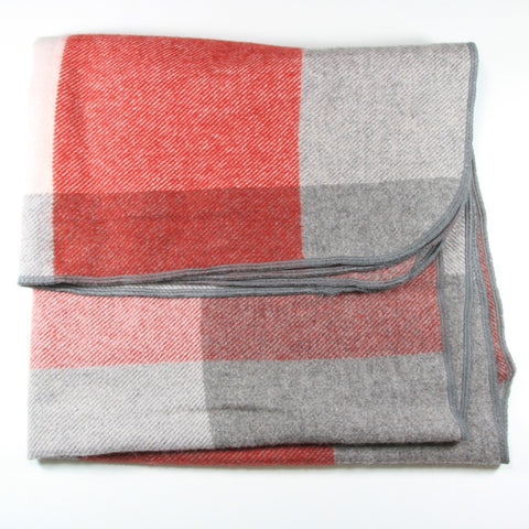 Red and Grey Checked Alpaca Pram Blanket