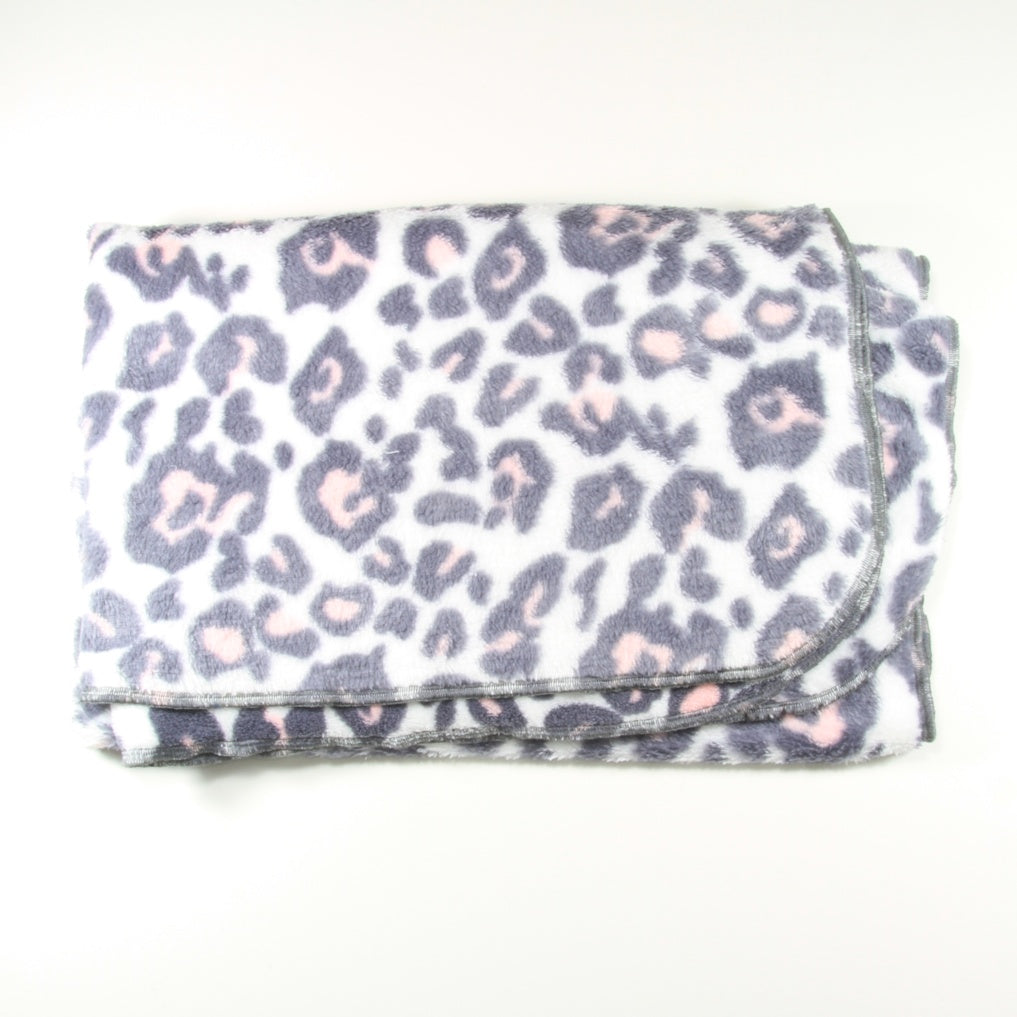 White Grey Pink Leopard Fleece Pram Blanket