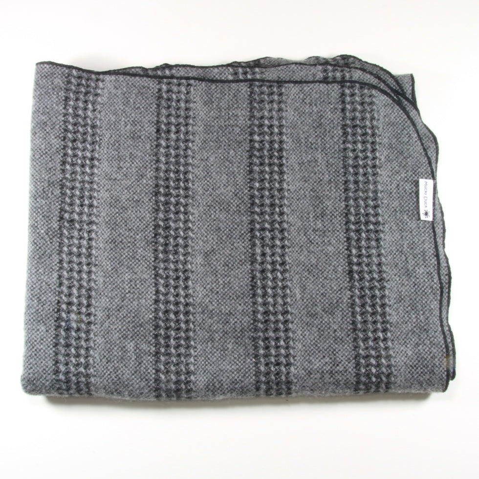 Black and Grey Stripey Alpaca Pram Blanket