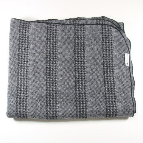 Black and grey striped alpaca wool pram blanket