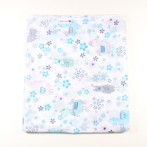 Mucky Duck mint pink and grey llamas muslin swaddle wrap