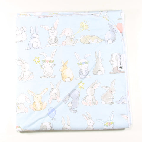 Flannelette Wrap - Blue Bunnies