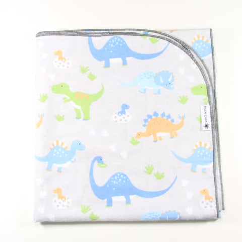 Mucky Duck grey with green blue orange dinosaurs flannelette swaddle wrap