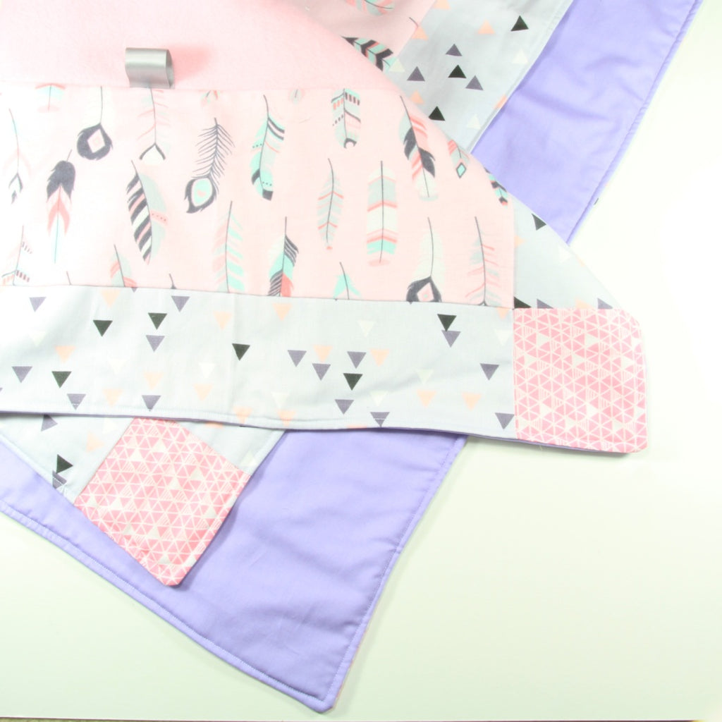 Pink and Purple Feathers and Rabbits Sensory Play Mat - Small