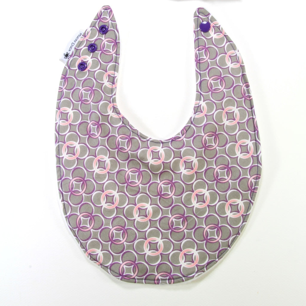 Grey Pink & Purple Circles Dribble Bib - Regular Style - New