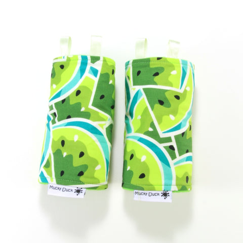 Mucky Duck green watermelon baby carrier strap protectors