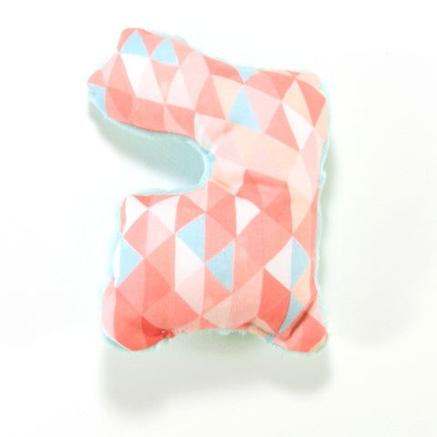 Pink & Mint Geometric Easter Bunny Rattle Toy - Sensory Shape - New
