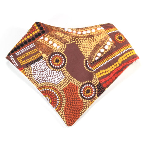 Aboriginal Squares and Circles Dribble Bib - Bandana Style