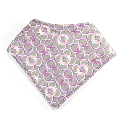 Mucky Duck grey purple pink circles bandana dribble bib