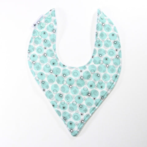 Mucky duck white with mint and black pattern bandana dribble bib