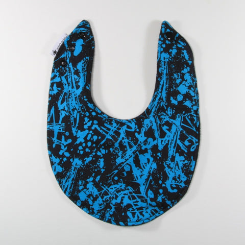 Black and aqua paint splash dribble bib