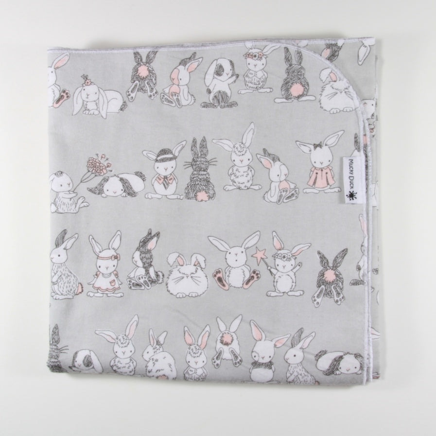 Flannelette Wrap - Grey and Pink Bunnies