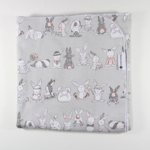 Mucky Duck grey with pink bunnies flannelette swaddle wrap