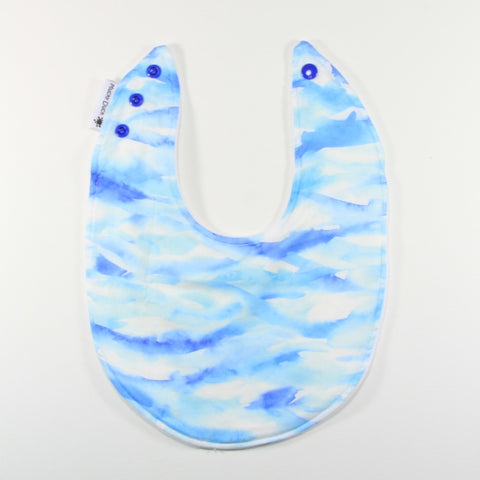 Blue Watercolour Dribble Bib - Regular Style