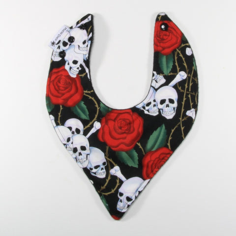 Mucky Duck skulls and roses bandana dribble bib