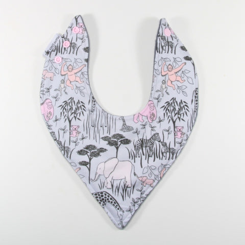 Grey Pink Jungle Animals Dribble Bib - Hybrid Style