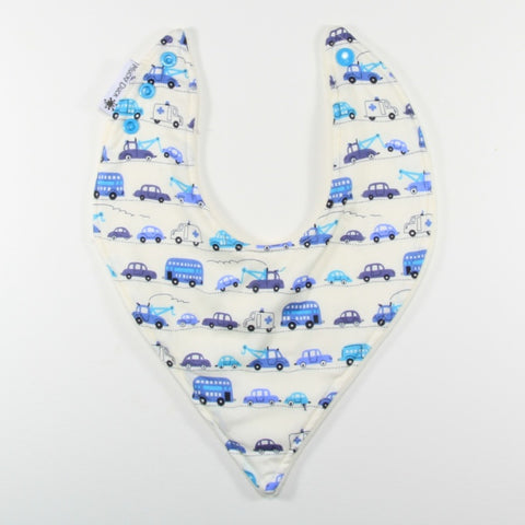 Mucky Duck blue and aqua cars bandana dribble bib
