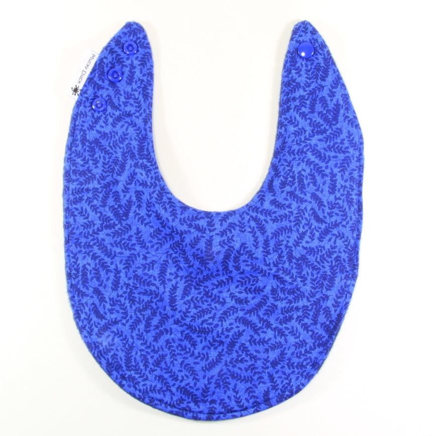 Mucky Duck dark blue small leaves bandana dribble bib