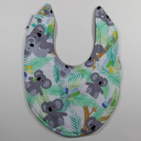 Mucky Duck mint and grey koalas dribble bib