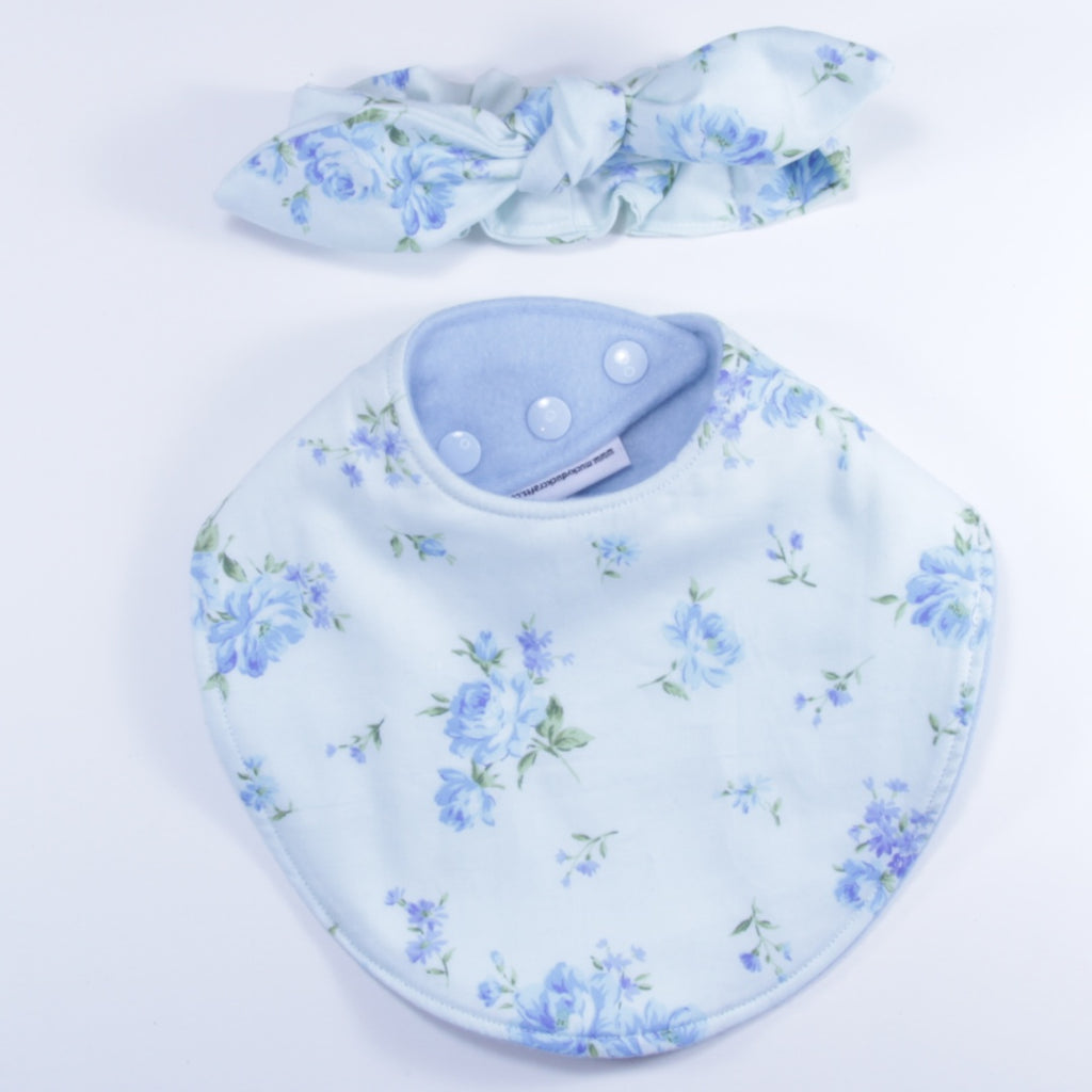 Mucky Duck blue roses floral dribble bib and headband set