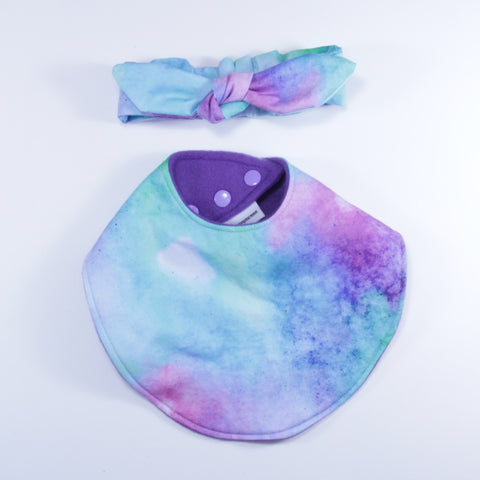Mucky Duck purple pink green blue watercolour dribble bib and headband set