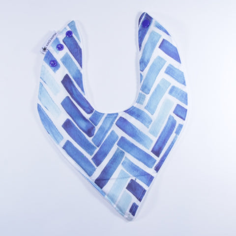 Mucky Duck blue watercolour herringbone bandana dribble bib