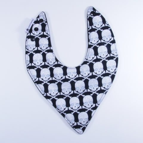 Mucky Duck black with white sparkly skulls bandana dribble bib