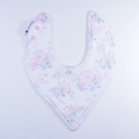 Mucky duck white with pink and grey flowers bandana dribble bib