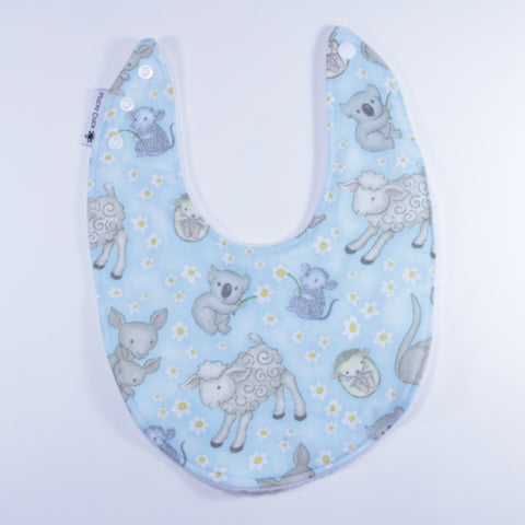 Mucky Duck blue Australian animals dribble bib